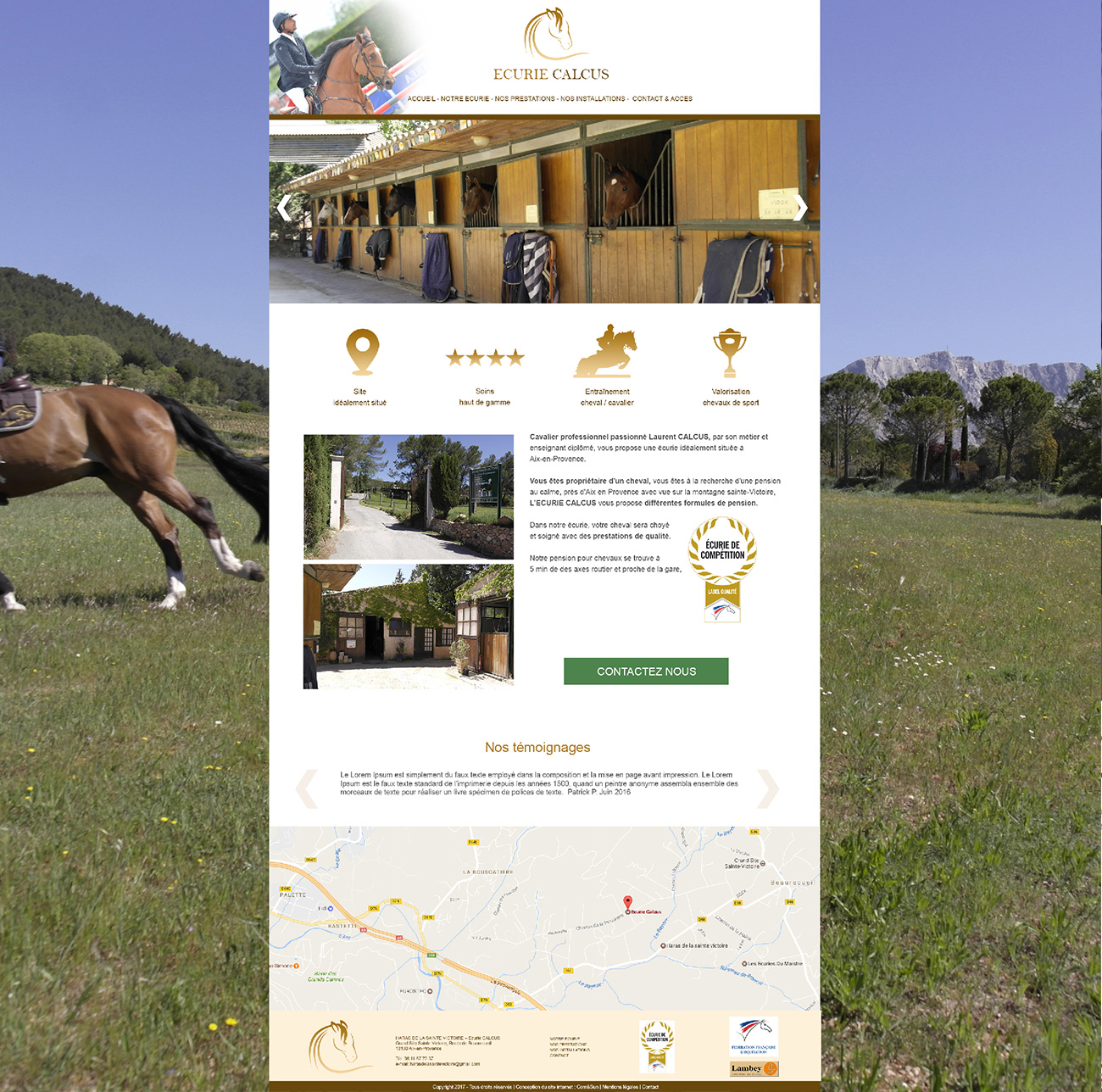 CREATION DE SITE INTERNET ECURIE - CENTRE EQUESTRE